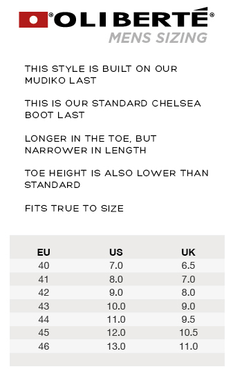 Oliberte Shoe Sizes Chart