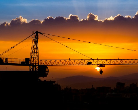 Addis Ababa crane sunset
